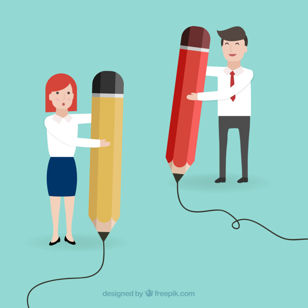 Grant Writing Skills for Entrepreneurs 2vectors of working man and woman holding giant pencils