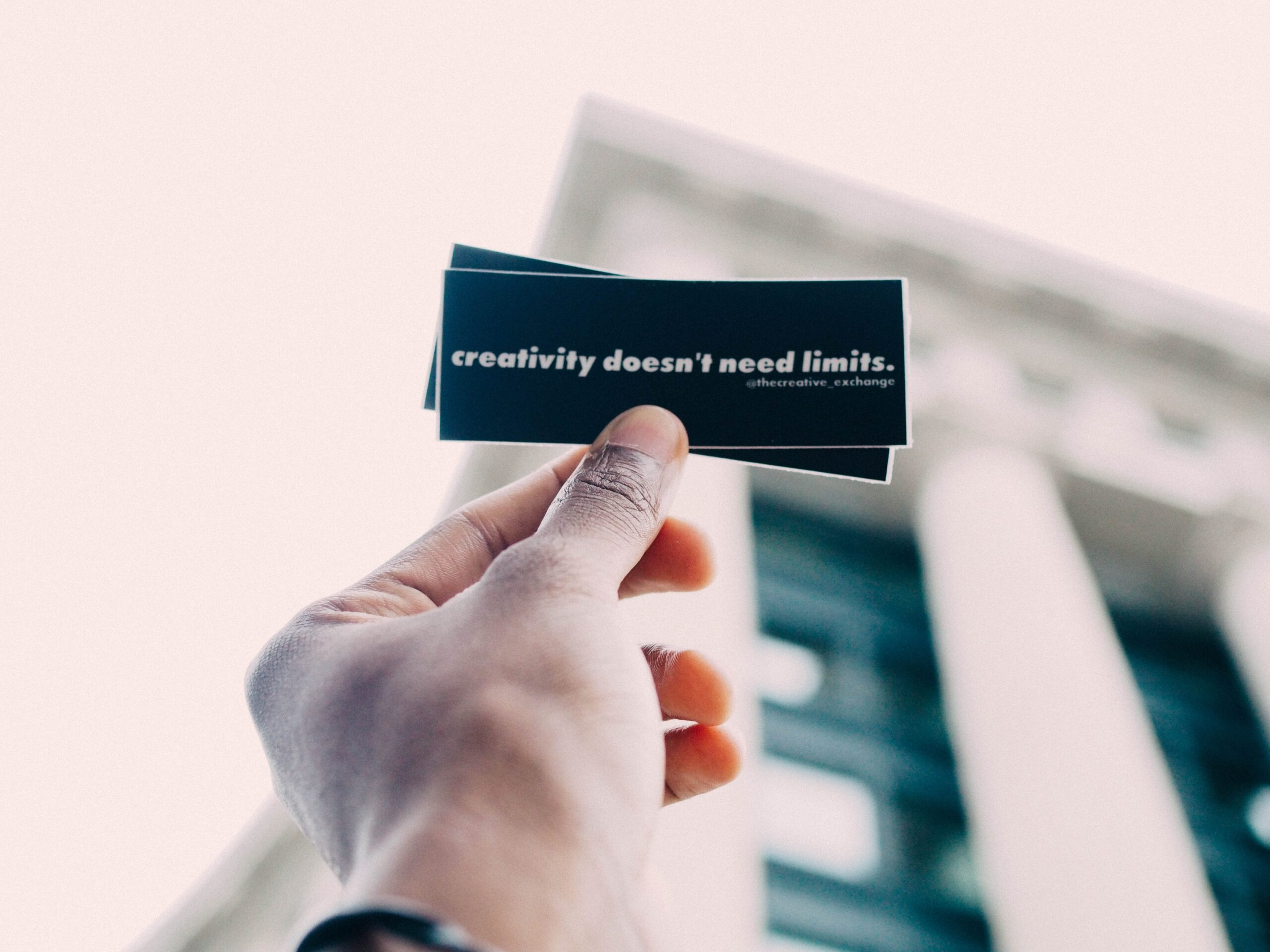 creativity doesn't need a limit - a quote in hand creative juices