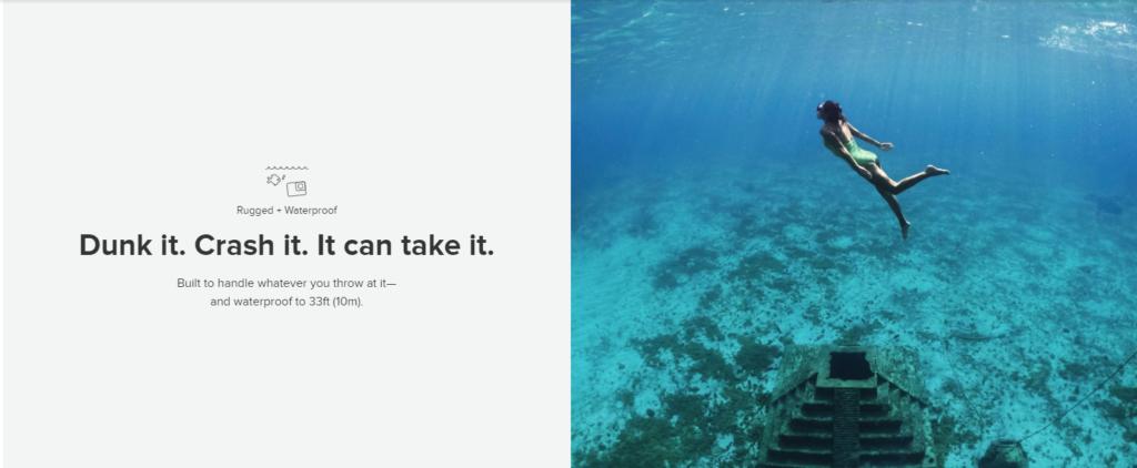 A screenshot image of GoPro website showing a sample product description.