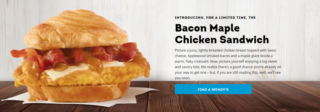 A screenshot image of Wendy's website to show a sample product description.