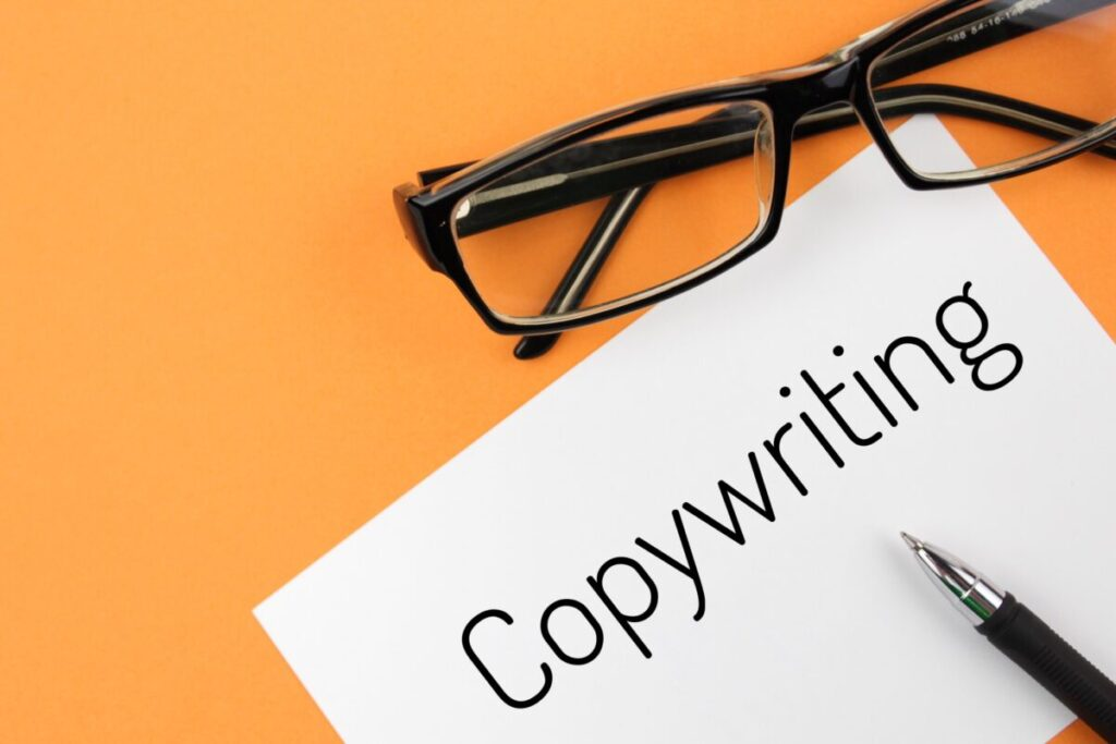 the word 'copywriting' is written with an orange background