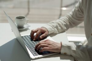 professional blog writing on laptop